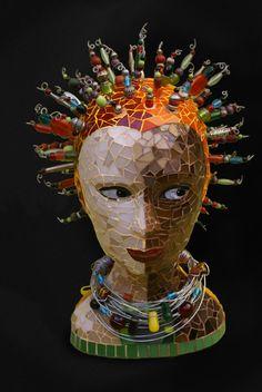 tête  réalisée en pate de verre et perles - Stéphanie Chatelet 2009