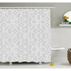 Ambesonne Lace Victorian Damask Antique Baroque Design with Oriental Effects Renaissance Art Shower Curtain Set Size: