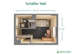 Floorplan with dimensions for unit types in Schäffer Hall.