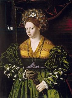 Portrait of a Lady in a Green Dress,Veneto Bartolomeo - 1530