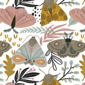 MothGardenFAP custom wallpaper by fineapple_pair for sale on Spoonflower Custom Wallpaper, Wallpaper Roll, Design 24, Pattern Illustration, Custom Fabric, Creative Business, Spoonflower, Fabric Design, Whimsical