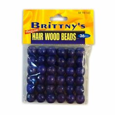 Wooden hair beads, perfect for fitting on dreads. Each package contains 36 beads. Size: 11mm wide, 12mm tall with a 4.23mm opening. Color: Purple.