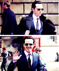 Andrew Scott on the set of Sherlock