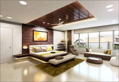 floating bed..light effect and wooden ceiling