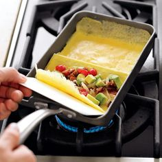 Think making an omelette is a tricky task? Think again. With this specially designed pan in your kitchen, it's easy to whip up perfect rolled omelettes. An update of a vintage design from Nordic Ware's archives, the cast-aluminum pan helps you make great-looking, tightly rolled omelettes – every time. Cast aluminum performs like cast-iron, without the excessive weight or maintenance. Nonstick finish ensures smooth release. Use with whole eggs or egg whites. PFOA-free. Stay-cool cast ...