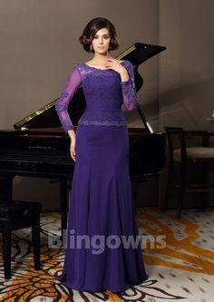 Chiffon Purple Bateau V-back Long Sleeves Appliques Mermaid Floor Length Mother Of The Bride Dresses