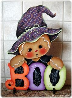 HP GINGERBREAD Witchy-BOO Halloween SHELF SITTER | Crafts, Handcrafted & Finished Pieces, Handpainted Items | eBay!