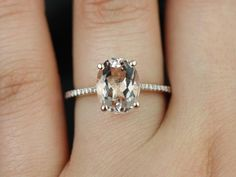 Rosados box Blake Rose Gold Oval Morganite and Diamonds Cathedral Engagement Ring