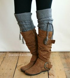 Alpine Thigh High Slouch Sock - Mid Grey thick cable knit socks with fold over cuff and tassel tie - boot sock leg warmer from Grace and Lace. Slouch Socks, Cable Knit Socks, Lace Boot Socks, Boot Cuffs, Bootie Boots, Shoe Boots, Tall Socks, Slouchy Boots, Flat Boots