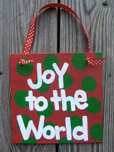 """Joy to the World Hand Painted Holiday Sign - 8"""" x 8"""""""