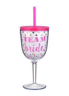 Team Bride Hearts Wine Glass
