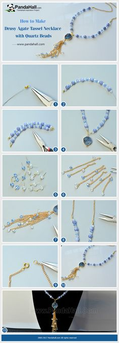 PandaHall Inspiration Project----Drusy Agate Tassel Necklace with Quartz Beads Use clear and blue electroplate abacus glass beads and imitation aquamarine quartz beads to make a necklace chain, and then use thin twist chains and electroplate glass beads to make a tassel pendant and connect the drusy agate link and tassel pendant with the necklace chain. Finally, you will get a fashion jewelry! #PandaHall #jewelry #necklace #agate #tassel #diy #tutorial #craft #promotion