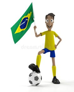 Illustration about Smiling cartoon style soccer player with ball and brazil flag. Illustration of funny, team, cartoon - 14396639 Brazilian Soccer Players, Boys Bedroom Colors, Cartoon Cupcakes, Brazil Flag, Cartoon Styles, Disney Characters, Fictional Characters, Illustration Art, Funny
