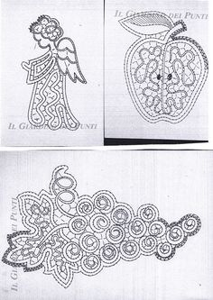 Engel, æble og vindruer Form Crochet, Crochet Motif, Irish Crochet, Crochet Lace, Cutwork Embroidery, Embroidery Stitches, Embroidery Patterns, Romanian Lace, Bobbin Lacemaking