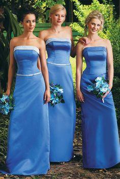 Blue A-Line Bridesmaid Dress, 2014 Strapless Bridesmaid Dress, Blue Long Dress, Valentine Day Wedding Ideas