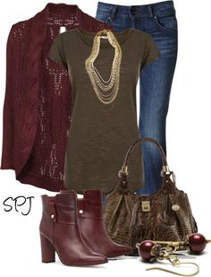 """Burgundy & Brown"" by s-p-j on Polyvore"