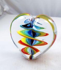 Hand Blown Glass Art Twirled Rainbow Stripes Paperweight