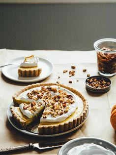 Ginger + pumpkin tart with maple-pecan crust — OLC Köstliche Desserts, Delicious Desserts, Dessert Recipes, Healthy Desserts, Sweet Pie, Sweet Tarts, Tart Recipes, Sweet Recipes, Quiche