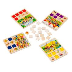 ¿Dónde está...?Hay juegos que son capaces de enganchar a grandes y a pequeños y este es uno de ellos.  Un juego de mesa en el que el objetivo a conseguir es ser el primero en encontrar los objetos propuestos.  Está formado por 4  tableros de juego (El Circo, la Granja, el Mercado y el Lago) y 96 tarjetas (24 para cada tablero) fabricados en madera.