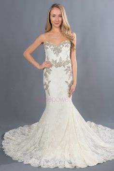 Enzoani Trumpet Gorgeous trumpet-style gown with a sweetheart neckline and open back. Chantilly lace detail throughout. Silver embroidery with crystal accents adorn the bodice. Vows Bridal, Plus Size Gowns, Chantilly Lace, Chapel Train, Trumpet, Bodice, Neckline, Lace Detail, Your Style