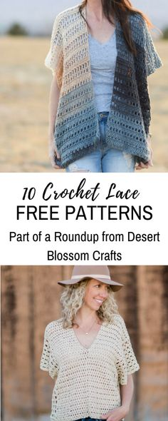 10 FREE Crochet Lace patterns, part of a Roundup on Desert Blossom Crafts! #crochet #crochetroundup #crochetlace #crocheting #freecrochetpattern #crochetpatterns #freecrochetpatterns #crochetpattern #crochettop