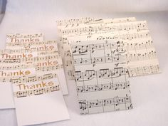6 Thanks Decorated Cards & Matching Envelopes - Repurposed Music Score Paper, Stenciled. $3.75, via Etsy.