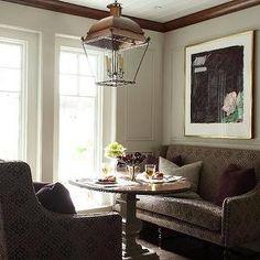 Suzie: Liz Caan Interiors - Elegant breakfast nook with round pedestal dining table, twin . Settee Dining, Pedestal Dining Table, Galley Style Kitchen, Dining Area, Dining Rooms, Interior Design Inspiration, Design Ideas, Design Design, Home Interior