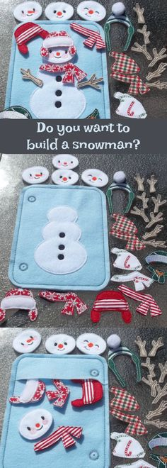 This fun busy bag is a great addition to or starter bag for your child's own busy Book.It is a bag with the snowman body stitched onto the front. Comes with 4 faces, 8 arms, 6 hats and 5 scarves that can easily mix and match. Patterns and/or colors or placement may vary.#quietbook #affiliate