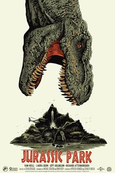 'Jurassic Park' by Francesco Francavilla. Part of the Mondo art show 'When Dinosaurs Ruled The Earth', celebrating 'Jurassic Park' and 'Jurassic World', on display June 12 until June and will. Jurassic World Park, Jurassic Park Poster, Jurassic Park 1993, Jurassic Park Tattoo, Jurrassic Park, Park Art, The Animals, Michael Crichton, Cinema Posters