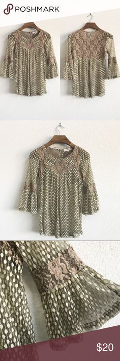 Lace 3/4 Bell Sleeve Boho Top Pre-loved but in good condition. Some signs of wear as you can see from the pics, but no stains, snags, or tears.   PRODUCT DETAILS: •Size: Small •Colors:Brown, Cream •Made in China •Measurements: Chest-17inch Length-26-28inch •Self is 50% cotton, 40% nylon, 10% spandex. Contrast is 52% cotton, 48% nylon. •Dry Clean Only  •3/4 Bell sleeves •Soft, furry floral lace mesh  •Crew Neck •Keyhole Back •Pleated Crochet Front  •Sheer material   Tags: shirt blouse Boho…