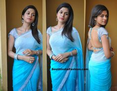 Shradda Das in Plain Blue Saree ~ Celebrity Sarees, Designer Sarees, Bridal Sarees, Latest Blouse Designs 2014