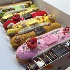 A choux-in for best pastry shop in town, Maitre Choux brings French flair - and delicious eclairs - to Soho and South Kensington. Easy Eclair Recipe, Brownie Recipes, French Sweets, Dessert Boxes, Food Truck Design, Pastry Shop, Cafe Food, Aesthetic Food, French Pastries