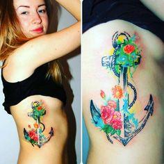 Floral Anchor Tattoo by Grzegorz Szklarzyk