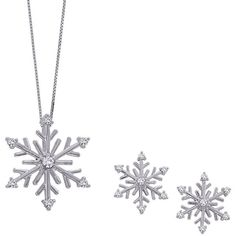Diamond Snow Flake Jewelry Set in 14K White Gold ($490) ❤ liked on Polyvore featuring jewelry, earrings, necklaces, accessories, christmas, christmas jewelry, 14 karat gold earrings, white gold jewelry, white gold diamond jewelry and diamond jewelry set