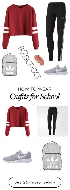 """#2school"" by mitrevica-karlina on Polyvore featuring adidas, NIKE and Topshop"