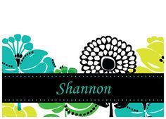 Vera Inspired Personalized Notecards: Lime and Flowers.  These would make great bridesmaids gifts or teacher gifts!