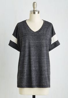 Kind of, Sportive Top. You sort of totally love the sporty look of this charcoal T-shirt! #grey #modcloth