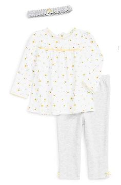 0f3c5b1f70dcf0 Little Me  Heather Daisy  Print Top, Leggings   Headband Set (Baby Girls