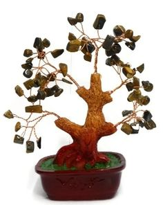 Feng Shui Tiger Eye Tree. Protective Home Decor Stone. Tiger eye is used for its protection and clearing properties in Feng Shui. It is a natural stone.