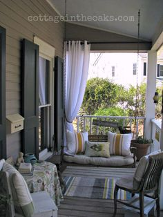 Front Porch DIY:: Beautiful Spring Front Porch full of Ideas ! by Fricks Pitman Cottage In The Oaks !DIY:: Beautiful Spring Front Porch full of Ideas ! by Fricks Pitman Cottage In The Oaks ! Porch Life, Front Porch Decorating, Outdoor Rooms, Porch Sitting, House, Porch, Front Porch Curtains, Home Decor, Porch Decorating
