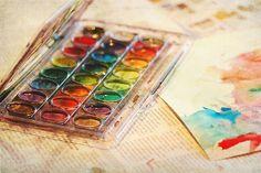 акварель, акварельные краски, яркий, цветной, лист, бумага