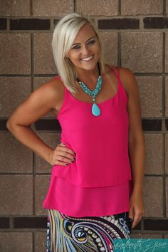 Double Layer Pink Tank. Turquoise Necklace. Summer Wardrobe. NOJ Boutique.
