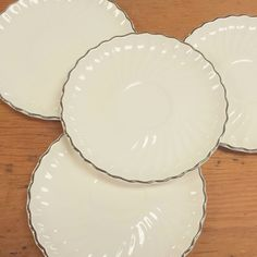 4 Platinum Swirl Saucer Plates by Scio China ~ Solid Off/White Scalloped Border Silver Rim, Unmarked Replacement by FeeneyFinds on Etsy
