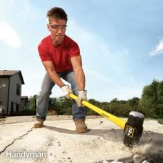 Save time and energy when breaking up a concrete slab or steps: Tips, tools and planning advice guide you through the job and save you big bucks. (Brick Shed Plans) Broken Concrete, Poured Concrete, Concrete Slab, Concrete Filler, Concrete Table, Concrete Projects, Stained Concrete, Outdoor Projects, Outdoor Decor