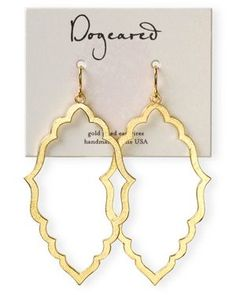 Dogeared 14K Gold Dipped Oval Drop Earrings