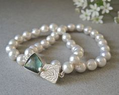 Lustrous Pearl Strand, Pearl Necklace, Labradorite Clasp, Hand Fabricated Clasp, Sterling Silver, Elegant