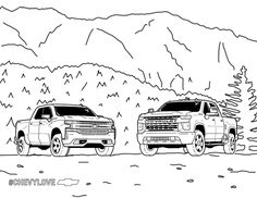 The perfect pair. Share your masterpiece. Cars Coloring Pages, Coloring Pages For Kids, Coloring Books, Free Stuff, Kid Stuff, Silverado Hd, Baby Safety, Dream Garage, Spaceships