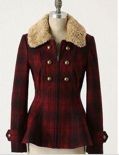 Anthropologie Elevenses Wanigan Ombre Plaid Peplum Coat Jacket 4 Faux Fur Collar #Anthropologie #BasicJacket #Casual