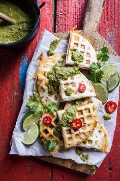 Spicy Pork Al Pastor Quesadillas with Roasted Tomatillo Salsa Verde. @FoodBlogs