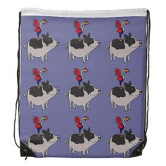 Folk Art Rooster on Pig Backpack #pigs #roosters #backpacks #funny #animals And www.zazzle.com/tickleyourfunnybone*